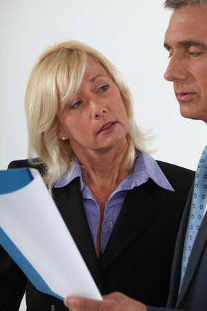 delegate: Mature couple with a report Stock Photo