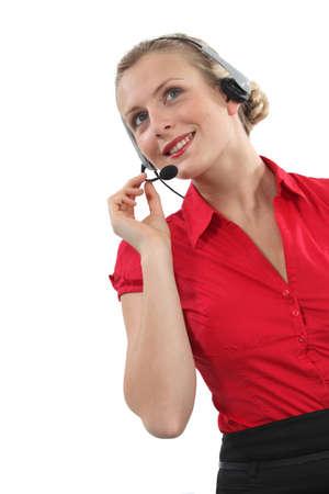 peppy: Peppy woman wearing a headset Stock Photo