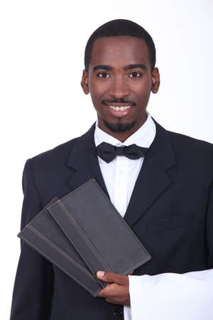 carte: Waiter holding two menus