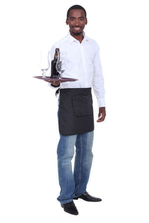 alcohol server: Portrait of a waiter with his tray Stock Photo