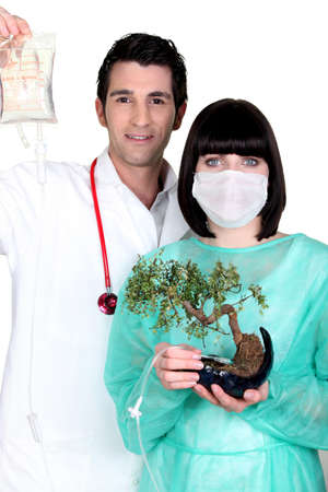 Doctor and nurse with drip and bonsai photo