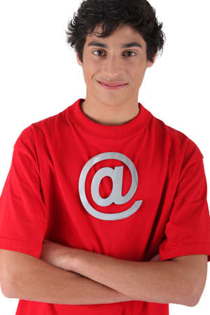 incarnate: Boy with red shirt and internet symbol