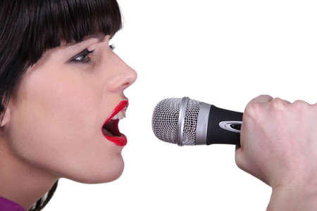 open lips: Woman singing