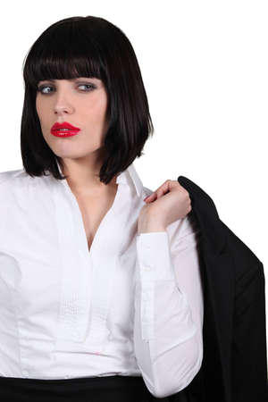 bummed: Businesswoman wearing bright red lipstick Stock Photo