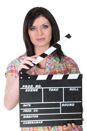 tv camera: Female director Stock Photo