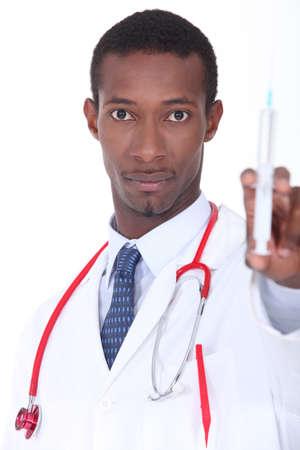 medium body: Man with syringe in hand