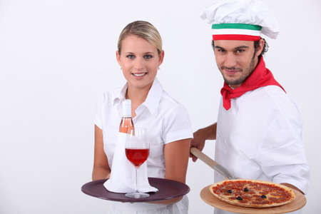 neck scarf: Pizza chef and waitress