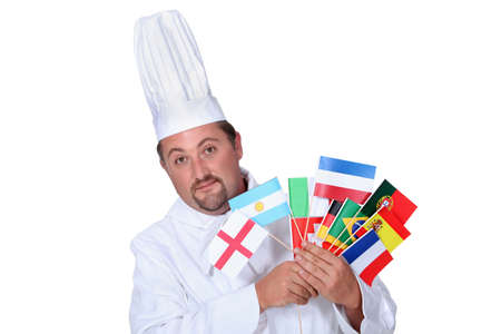 Chef with national flags photo