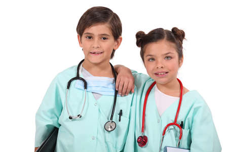 Kids dressed up as doctors photo