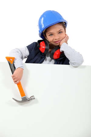 inspector kid: little girl dressed in construction worker