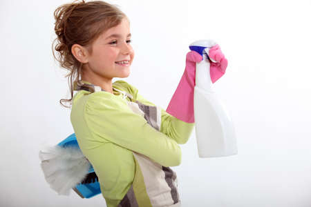 Little girl cleaning photo