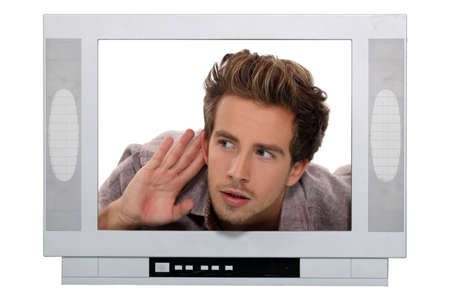 Man in a television screen photo