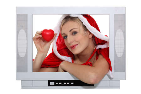 telly: Mrs. Claus in a television screen