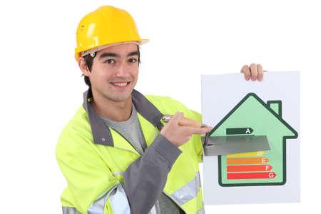 energy work: A mason promoting energy savings.