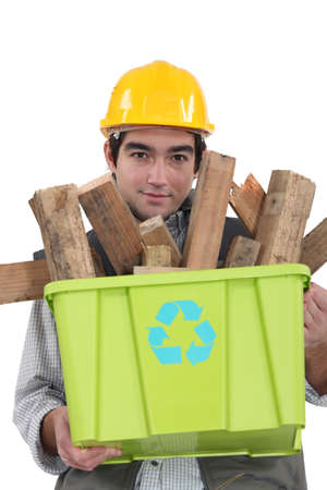 Worker recycling wood Stock Photo - 18099771