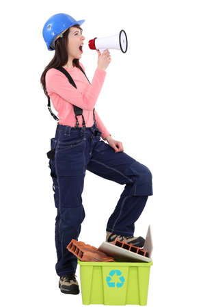 overseer: Female construction worker with a megaphone