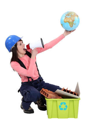 outspoken: Woman campaigning for more recycling in the world Stock Photo