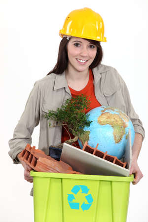 Tradeswoman concerned about the environment photo