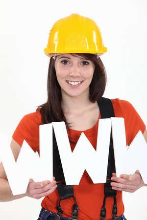workwoman: Tradeswoman embracing technology