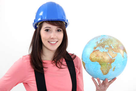 evoke: Woman with globe Stock Photo