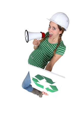 Woman with recycle poster photo
