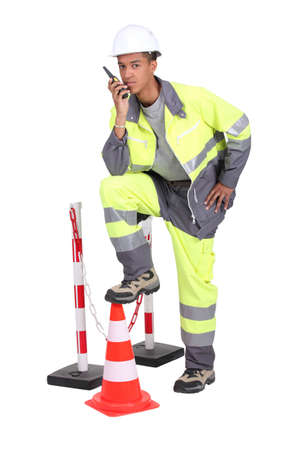 high visibility: Roadworker Stock Photo