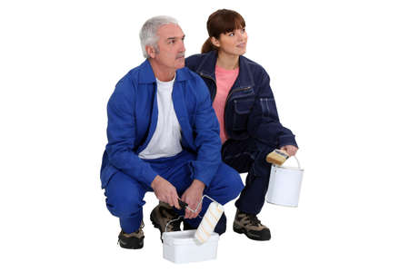 Man and woman professional painters