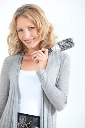 hair brush: woman with hair brush