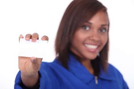 craftswoman: craftswoman holding business card Stock Photo