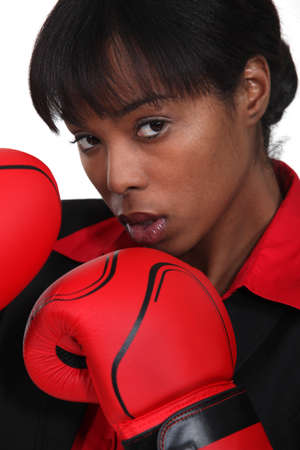 black woman with boxing gloves photo