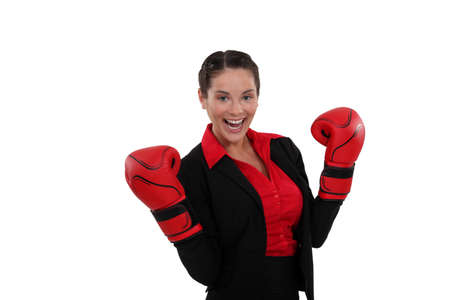 bout: Happy female boxer
