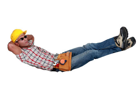 invisible: Tradesman lying in an invisible hammock