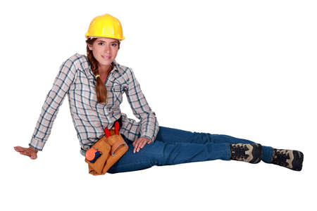 sexy construction worker: Portrait of a laid-back tradeswoman