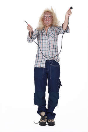 power failure: Careless blond electrician