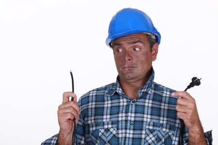 Shocked electrician Stock Photo - 18294424