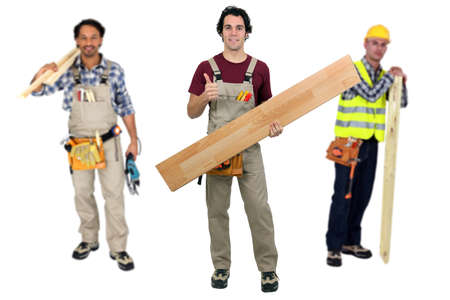 underlay: Three carpenters Stock Photo