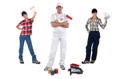 Male and female decorators Stock Photo - 18292648