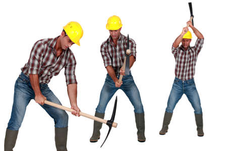 pickaxe: Man with a pickaxe