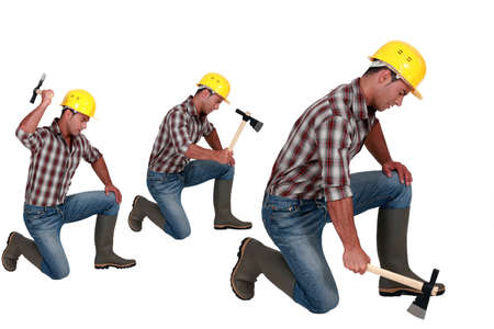Construction worker in different poses with an axe photo
