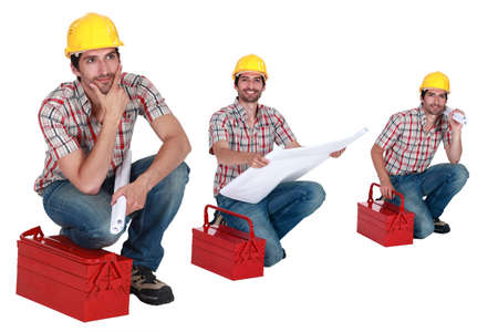 Three shots of a worker with his toolbox photo