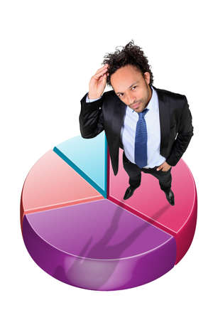 piechart: Young businessman stood with pie-chart