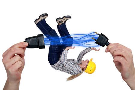 unplugging: Disconnecting plug Stock Photo