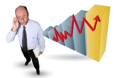 yield: Man with an upward chart Stock Photo