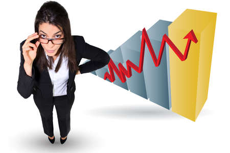 increase diagram: Businesswoman stood by bar chart