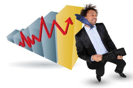 air guitar: Businessman celebrating up Stock Photo