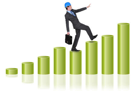 Man walking up bar chart Stock Photo - 18292635