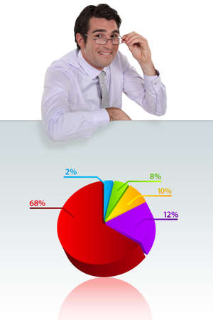 Man stood with pie-chart photo