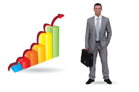 economic recovery: Businessman with an upwards bar chart
