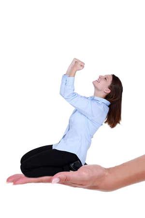 fist pump: Businesswoman celebratory fist pump