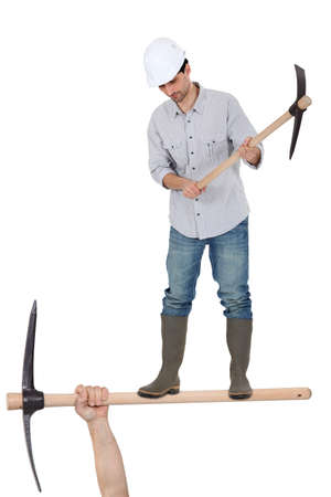 untrustworthy: Man with a pickaxe